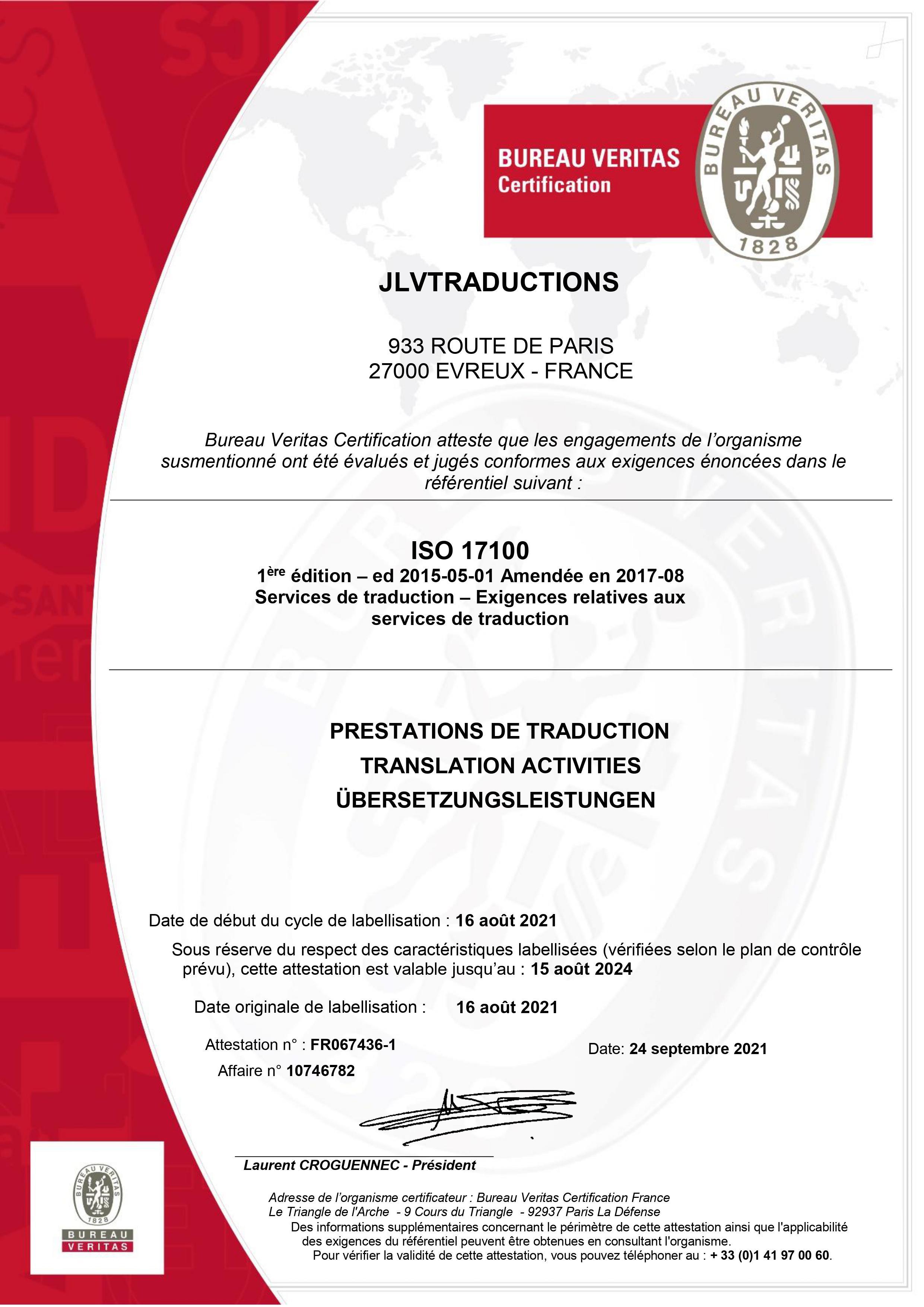 CERTIFICATION ISO 17100: UN LABEL QUI VAUT DE L'OR POUR JLVTRADUCTIONS